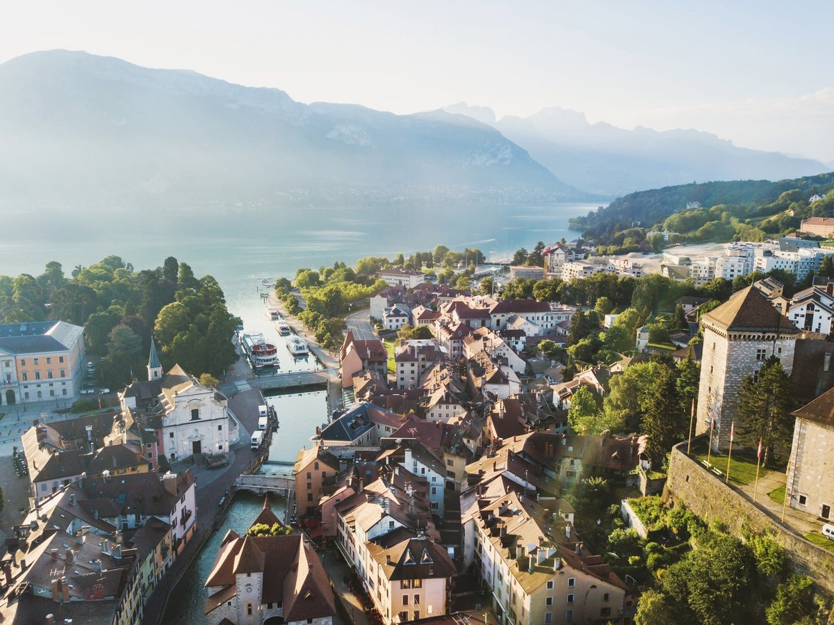 Annecy castle and old city view in France