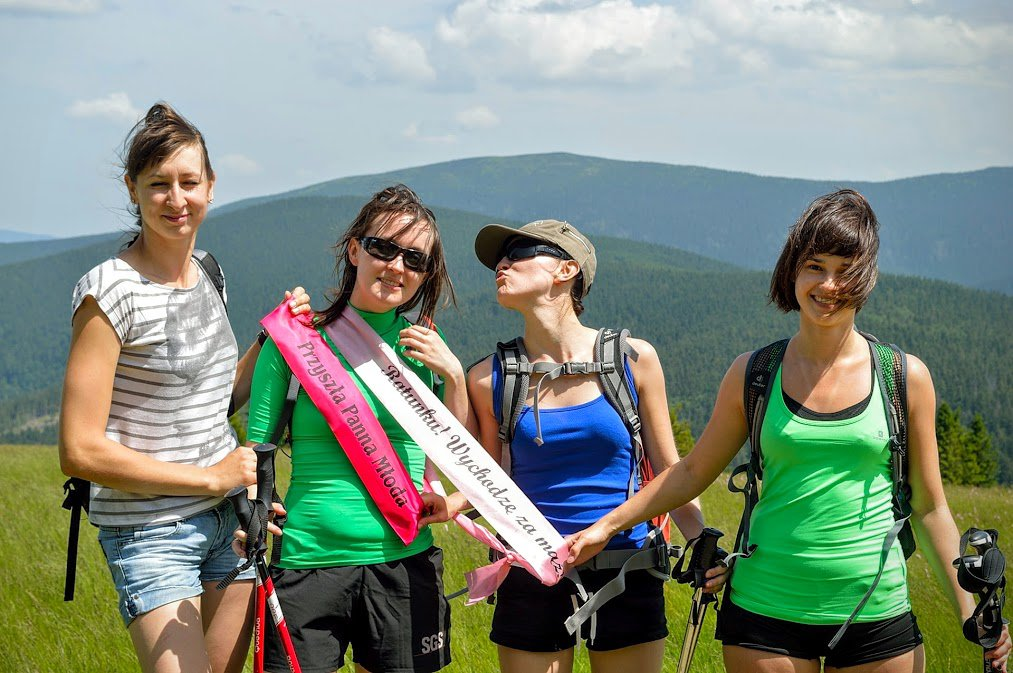 Hiking bachelorette party in the mountains
