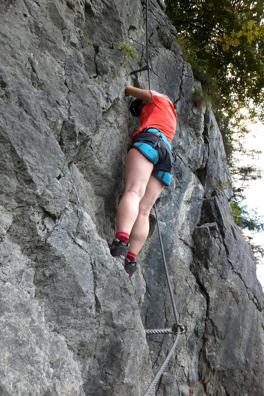 Climbing via ferrata in Weisbach, Salzburg region, Austria