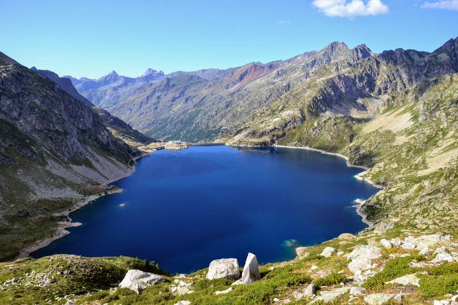 Best hikes in Europe. Pyrenees mountain lake.