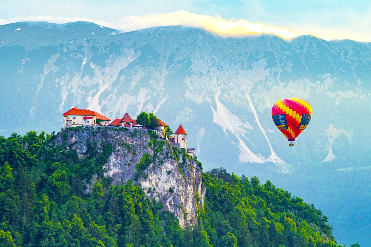 balloon over the lake Bled in Slovenia
