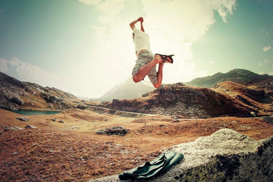 Jumping man outdoors