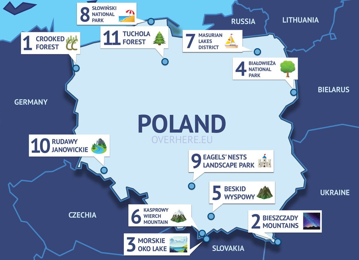 Map showing the Natural Wonders of Poland